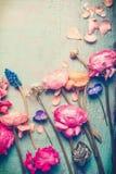 Le rétro pastel de jolies fleurs a modifié la tonalité sur le fond de turquoise de vintage Photos libres de droits
