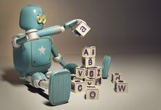 Le rétro robot joue avec les cubes en bois en ABC sur le floore rendu 3d Photos libres de droits