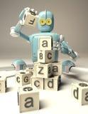 Le rétro robot joue avec les cubes en bois en ABC sur le floore rendu 3d illustration libre de droits
