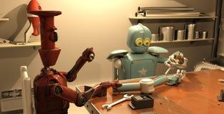 Le rétro robot répare sa main, le rendu 3d illustration stock