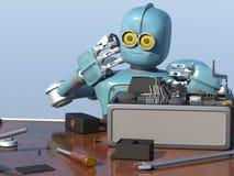 Le rétro robot répare un mécanisme cassé, restaurations d'Android le det Photo libre de droits