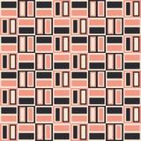 Le rétro rose de Palm Springs et les briques de Brown dirigent le modèle sans couture Backrgound géométrique lunatique La moitié  illustration de vecteur