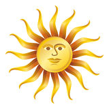 Le rétro soleil sur le blanc, illustration de vecteur Images stock