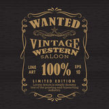 Le rétro vintage de vue de tableau noir tiré par la main de label a voulu la bannière Photos libres de droits