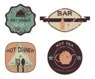 Le rétro vintage réglé badges, des rubans et marque le hippie Image libre de droits