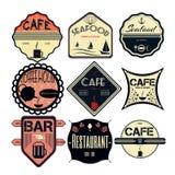 Le rétro vintage réglé badges, des rubans et marque le hippie Photos stock