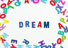 Le rêve de Word marque avec des lettres l'alphabet Photo libre de droits