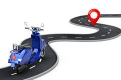 Le r?tro ou ?lectrique scooter de cru classique bleu suivent au-dessus de la route d'enroulement ? la destination Pin Target Poin illustration stock