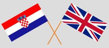 Le R-U et la Croatie Drapeaux britanniques et croates illustration de vecteur