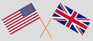Le R-U et les Etats-Unis Les Anglais et les drapeaux des Etats-Unis d'Amérique illustration stock