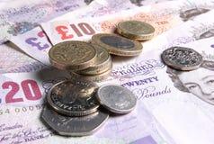 Le R-U invente la devise d'argent de notes Images libres de droits