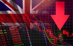 LE R-U Prix du marché rouge de crise du marché de bourse des valeurs de Londres en bas des affaires de chute de diagramme et néga illustration libre de droits