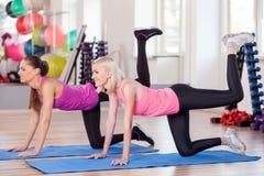 Le ragazze allegre stanno esercitando nel centro di forma fisica Fotografia Stock