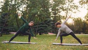 Le ragazze attraenti stanno godendo dell'yoga all'aperto nelle posizioni di pratica del parco che stanno sulle stuoie L'istruttor stock footage