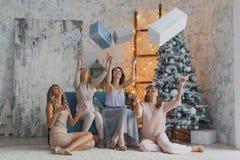 Le ragazze danno i regali che celebrano il nuovo anno, compleanno, divertendosi immagine stock libera da diritti
