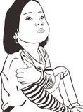 Le ragazze dei bambini del bambino della ragazza di vettore progettano le belle arti bianche nere di arte della gente royalty illustrazione gratis