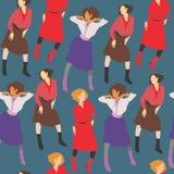 Le ragazze del modello nel colore di modo tende 2018 su un fondo blu scuro illustrazione di stock