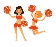Le ragazze delle ragazze pon pon con il piano accessorio cheerleading di vettore dell'indumento hanno isolato le icone illustrazione di stock