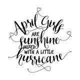 Le ragazze di aprile sono il sole misto con un piccolo uragano royalty illustrazione gratis