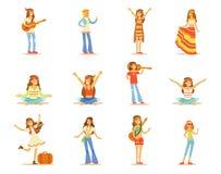 Le ragazze di hippy messe, giovani belle donne con capelli lunghi si sono vestite nelle illustrazioni di vettore dei vestiti dell illustrazione vettoriale