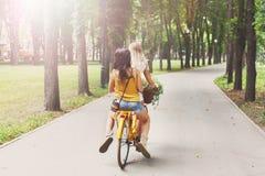 Le ragazze eleganti di boho felice guidano insieme sulle biciclette in parco Immagini Stock Libere da Diritti