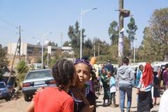Le ragazze etiopiche si danno un bacio Fotografie Stock