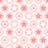 Le ragazze geometriche scherza i cerchi ed il modello senza cuciture delle stelle su bianco Fotografia Stock
