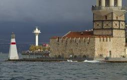 Le ragazze si elevano, Costantinopoli, città e mare Immagini Stock Libere da Diritti