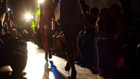 Le ragazze si sono vestite in attrezzature sexy sulla sfilata di moda retroilluminata archivi video