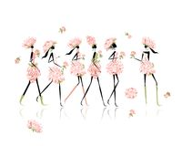 Le ragazze si sono vestite in costumi floreali, addio al nubilato per Fotografia Stock