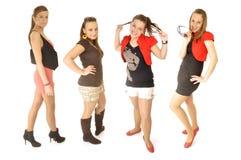 Le ragazze sono felici nel banco Fotografie Stock