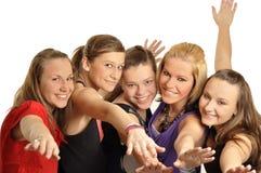 Le ragazze sono felici nel banco Fotografia Stock Libera da Diritti