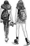 Le ragazze teenager di sport vanno per una passeggiata Immagini Stock Libere da Diritti