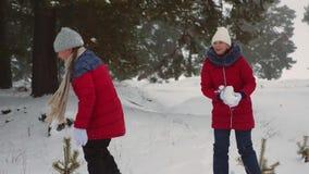 Le ragazze teenager felici giocano le palle di neve nell'inverno e nella risata nevosi con piacere Camminando in aria fresca dei  archivi video