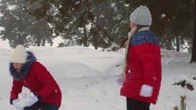 Le ragazze teenager felici giocano le palle di neve nell'inverno e nella risata nevosi con piacere Camminando in aria fresca dei  video d archivio