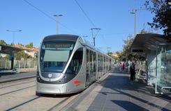Le rail de lumière de Jérusalem Image libre de droits