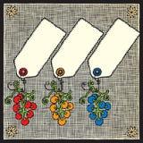 Le raisin étiquette la gravure sur bois Images stock