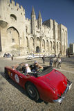 Le Rallye des Princesses or Rally of the Princesses, Sylvie Tellier, Miss France 2002 with Anne Curtat in their 1967 Alpha Romeo,. In front of the Palace of the Stock Photo