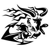 Le Ram de chèvre avec des bateaux ancrent noir illustration de vecteur de dessin au trait photographie stock libre de droits