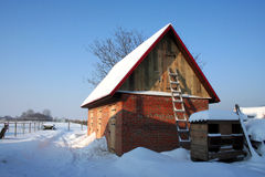 Le ranch en hiver Images stock