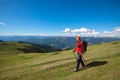 Le randonneur heureux marche le long du pré alpin Photos libres de droits