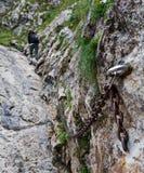 Le randonneur traverse le mur rocheux Photographie stock