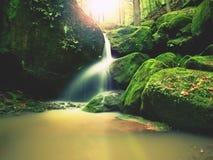 Le rapide sulla piccola torrente montano fra il basalto muscoso oscilla Acqua vaga che investe le pietre Fotografie Stock Libere da Diritti