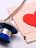 Le rapport de graphique de stéthoscope, d'électrocardiogramme et le coeur forment Photo libre de droits