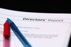 Le rapport du conseil d'administration Images stock