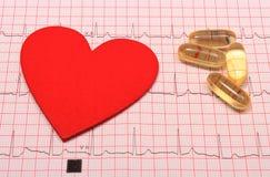 Le rapport, les comprimés et le coeur de graphique d'électrocardiogramme forment Images libres de droits