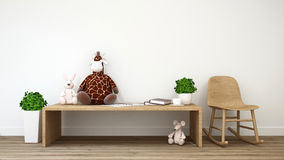 Le rat de lapin et la poupée de girafe badinent le rendu de room-3d Photo stock