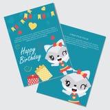 Le raton laveur et les boîte-cadeau mignons de fille dirigent l'illustration de bande dessinée Photographie stock