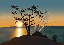 Le receveur rêveur sur le lac Photo libre de droits