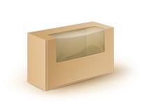 Le rectangle de carton de blanc de Brown emportent l'emballage de boîte pour le sandwich, nourriture, le cadeau, d'autres produit illustration stock